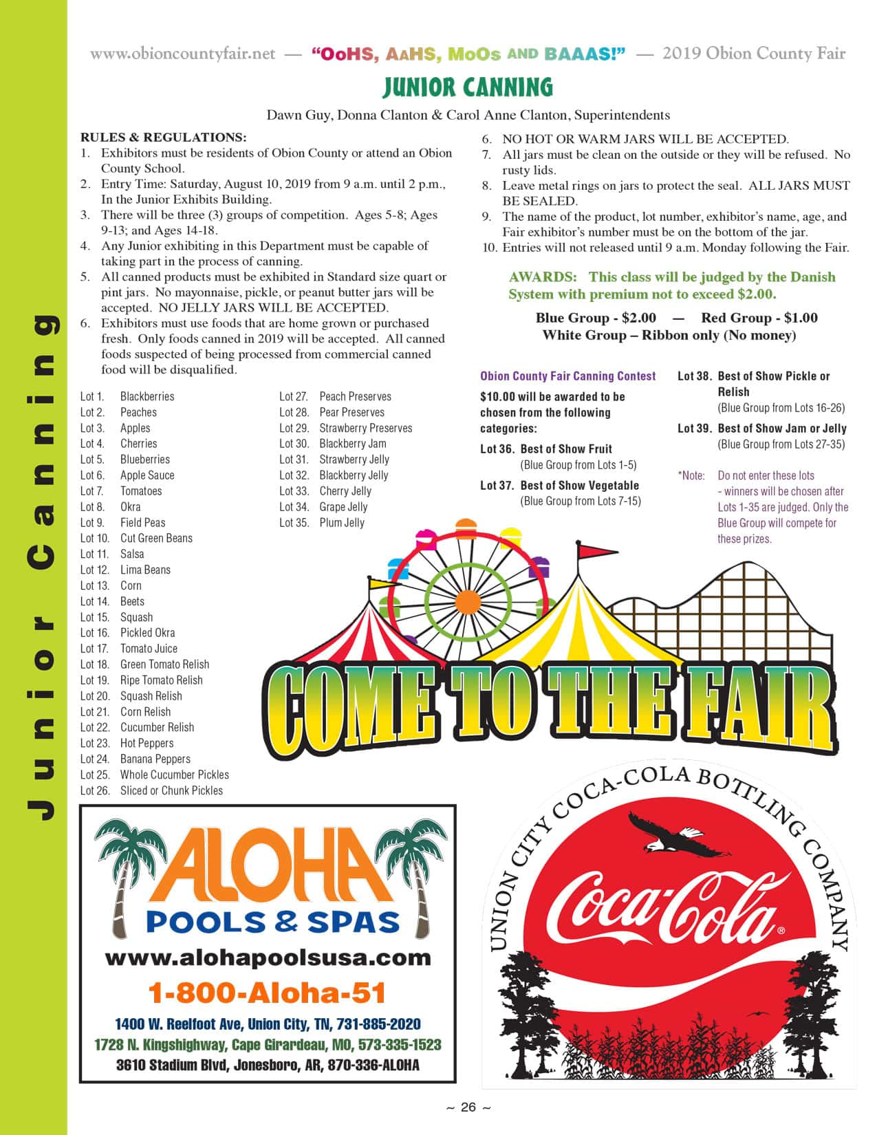 Entry Information - Obion County Fair